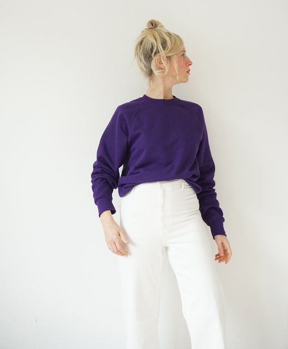 Vintage Purple Raglan Sweatshirt | 80s Purple Aube