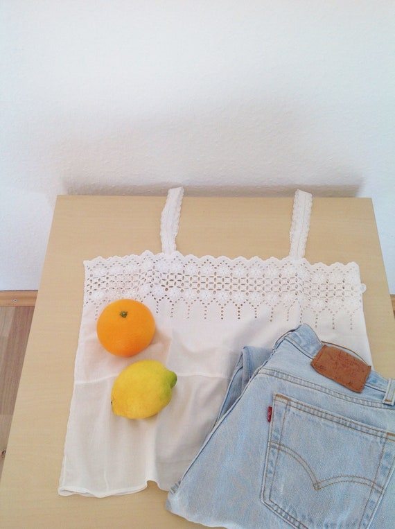 Vintage French White Cotton Tank Top | Antique Eye