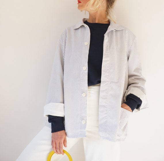 Vintage Striped Cotton Chore Jacket | Unisex Germ… - image 2