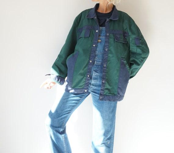 Vintage Duo Tone Green Navy Chore Snap Jacket | Un