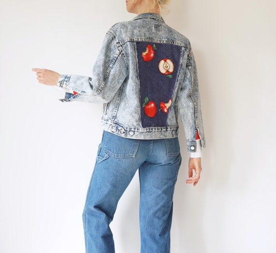 Vintage jeans 90s reworked bleach tie-dye denim trousers 90/'s vntg one-off handmade bleached high-waisted grunge denim pants