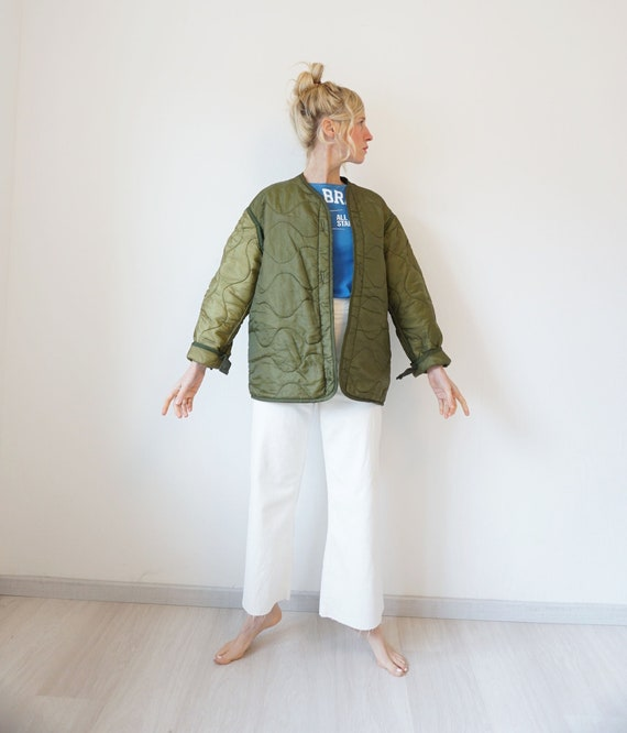Vintage Military Quilted Liner Jacket Oversized  