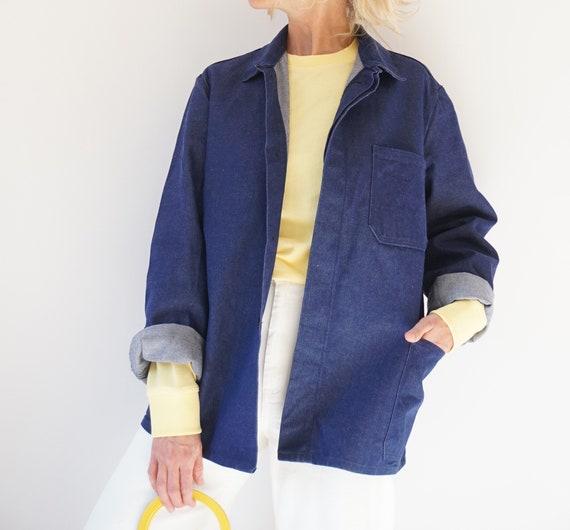 Vintage Indigo Denim Cotton Chore Jacket | Unisex… - image 2