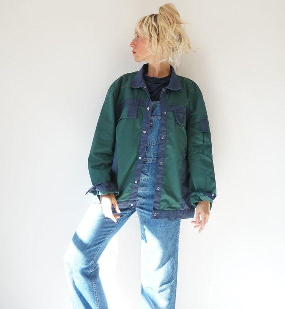 Vintage Duo Tone Green Navy Chore Snap Jacket   Un