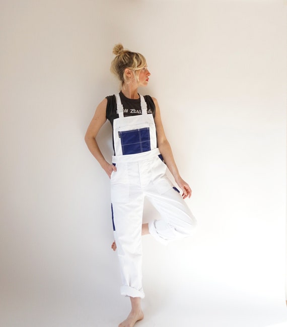 Vintage White Blue French Workwear Overalls | Pain