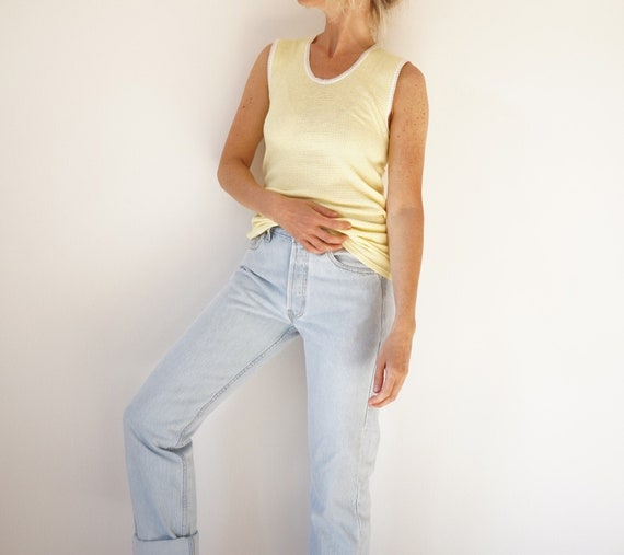 Vintage French Pale Yellow Pointelle Undershirt |