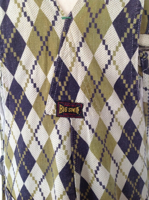 1960s Purple Painter Medium Diamond Vintage Salopette Big 60s V Bib Back Pants Large Smith Retro Overalls Carpenter Argyle Green Dungarees x1q7qzUZ