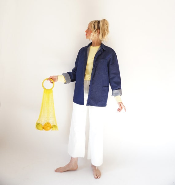 Vintage Indigo Denim Cotton Chore Jacket | Unisex… - image 4