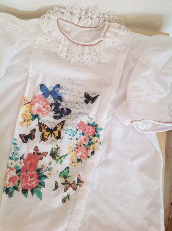 Vintage White Puff Sleeve Blouse | Ruffle Butterf… - image 10