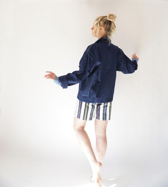 Vintage Dark Sea Cotton W/ White Stitch Chore Jac… - image 7
