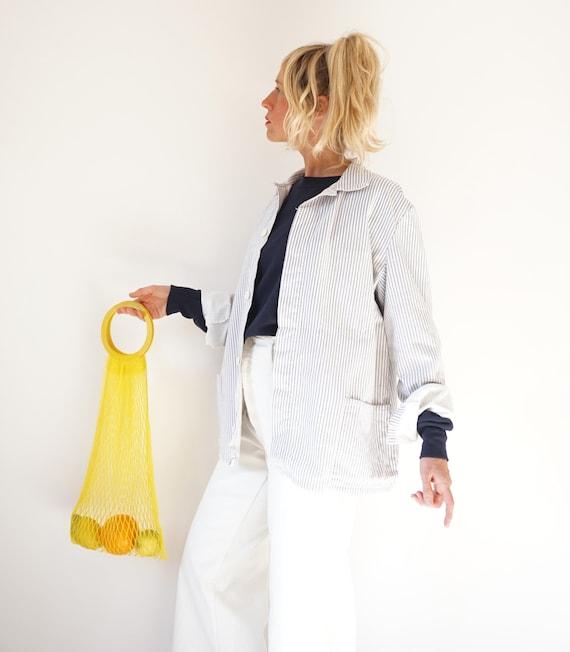 Vintage Striped Cotton Chore Jacket | Unisex Germ… - image 6
