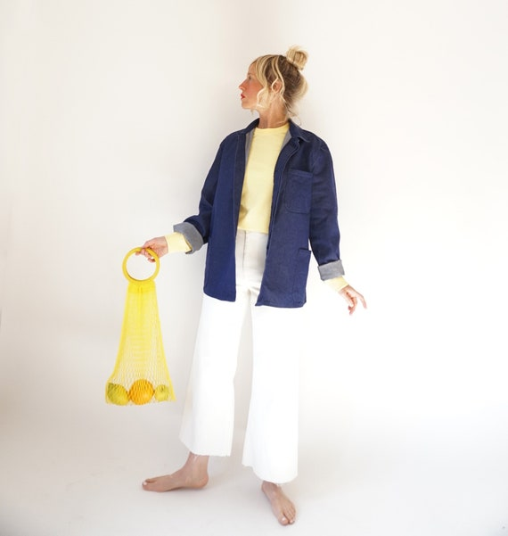 Vintage Indigo Denim Cotton Chore Jacket | Unisex… - image 9