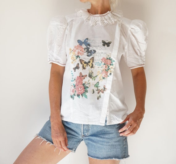 Vintage White Puff Sleeve Blouse | Ruffle Butterf… - image 3