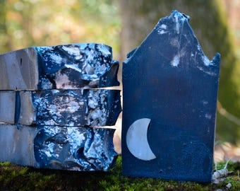 Dark Moon Cold Processed Soap~Black Soap~Moon Soap~Wiccan~Goth Soap