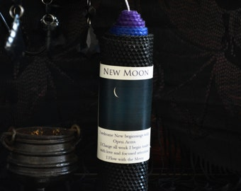 New Moon Candle~ for New Beginnings and Intention Setting~Black Candle~Ritual Candle~Beeswax Candle~Wicca~Witchcraft Supply