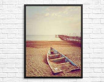 Beach print, Boat print, Modern Costal Print, Beach photography, Sand wall print, Coastal photography, Modern bohemian home decor, Beach art