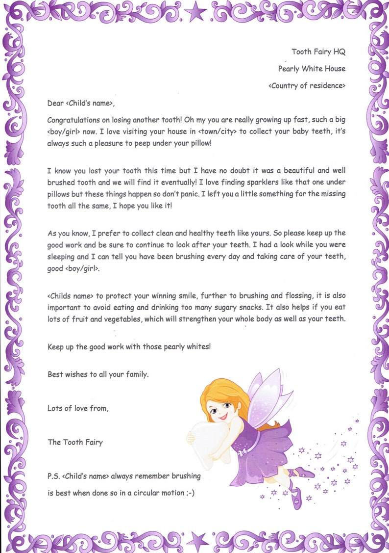 Personalised Letter From The Tooth Fairy Lost Tooth Etsy