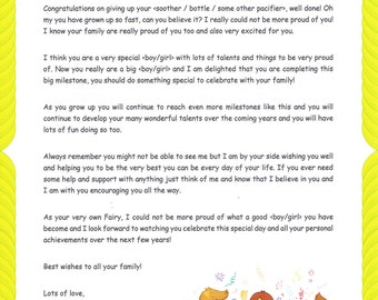 Personalised Pacifier Letter - From your child's very own Fairy/Fairy Godmother/Guardian Angel or Santa Claus