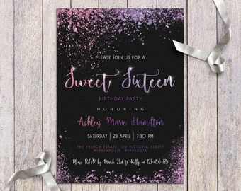 Sweet 16 Invitation Digital 16th Birthday Party Girls Invite Glitter Purple Blue Rose Gold And Black Teen Printable Sixteen