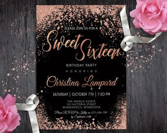 Sweet 16 Invitation Rose Gold Black Birthday For Girls Digital Glitter 16th Invite Teen Glam Party Invitations Printable
