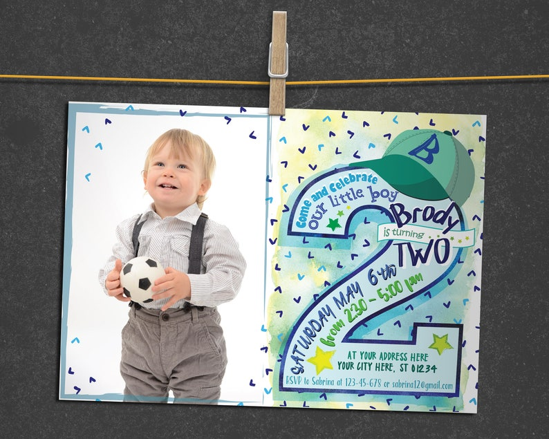 Baby Boy Photo Invitation 2nd Birthday Celebration Invite For