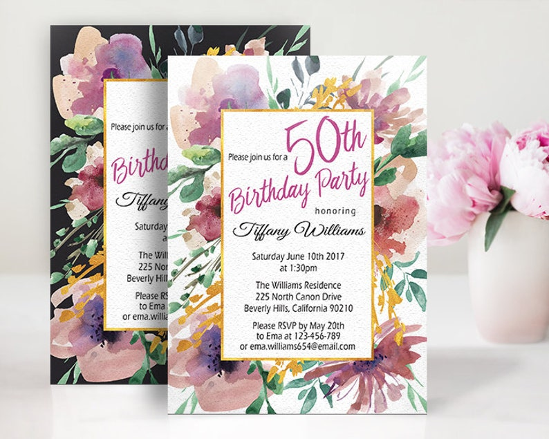 50th Birthday Party Invitation For Women Watercolor Floral Sofisticated Digital With A Gold Frame ANY AGE Boho Chic