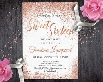 Rose Gold White Birthday invitation for girls Digital Sweet 16 Invitation Glitter invite 16th Teen Glam Birthday Party Invitations Printable
