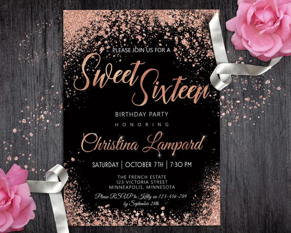 sweet 16 invitation rose gold black birthday invitation for etsy