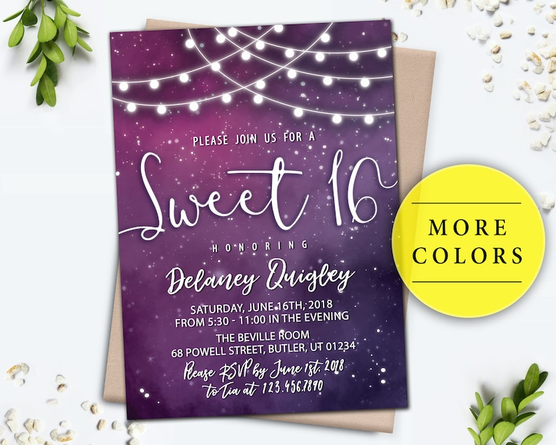 Galaxy Invitation, Sweet 16 Birthday Party Digital Invite, Printable String  Lights invitations for Girls, Purple Pink Blue Starry Sky Night