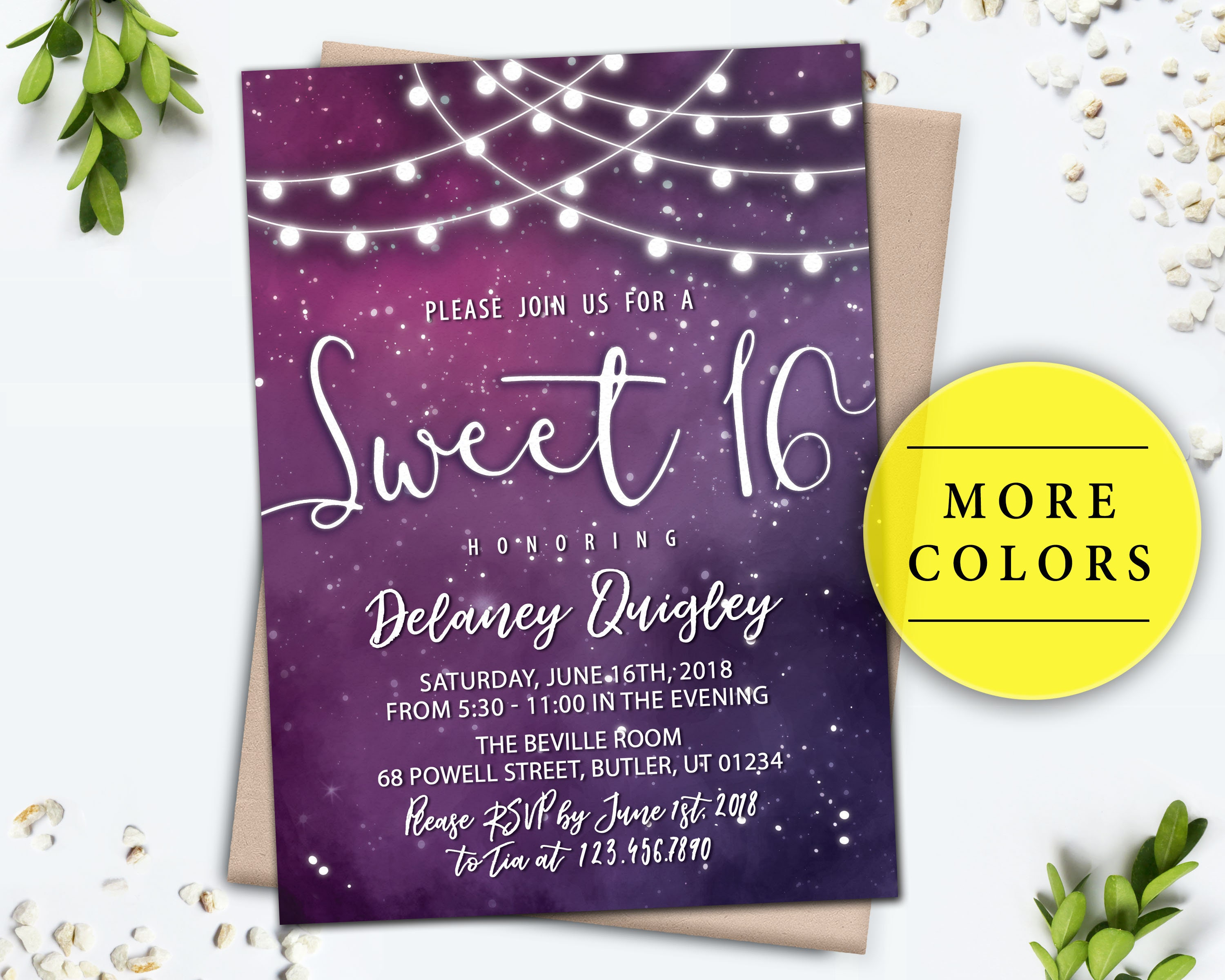 Galaxy Invitation Sweet 16 Birthday Party Digital Invite