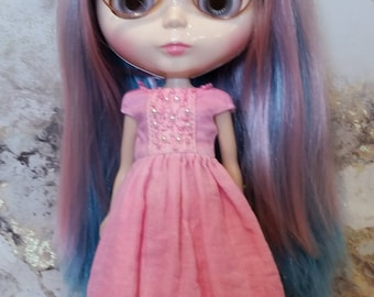 Blythe Dress – Deep Pink - OOAK - Hand Dyed – Boho/vintage/shabby chic inspired