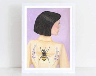 Pintura caprichosa, extravagante, imprimir acuarela A3, impresión del arte moderno, Pastel Home Decor, muchacha adolescente regalo, Galería de la casa, domicilio de arte de la pared