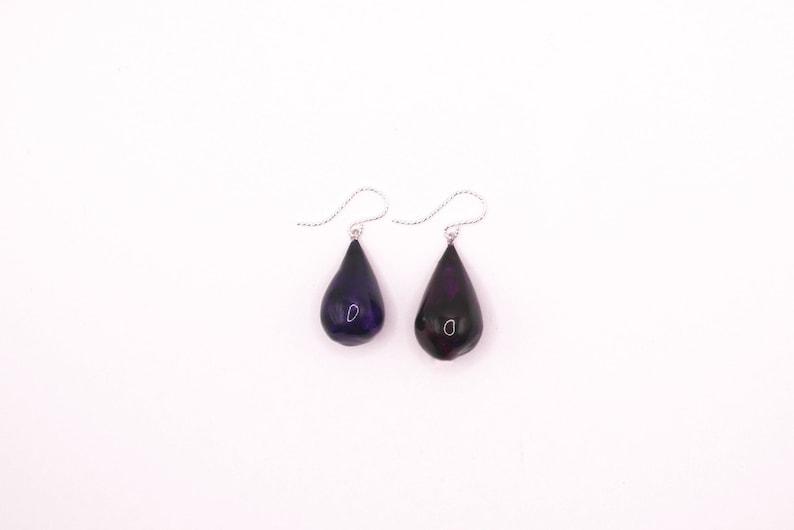 Purple Dangle Earrings Sterling Silver Teardrop Earrings image 0