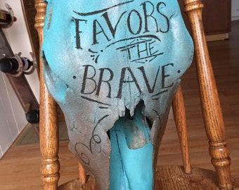 Fortune favors the brave painted skull