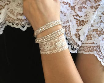 VitalieJd Leather and Lace cuff bracelet with Swarovski crystals