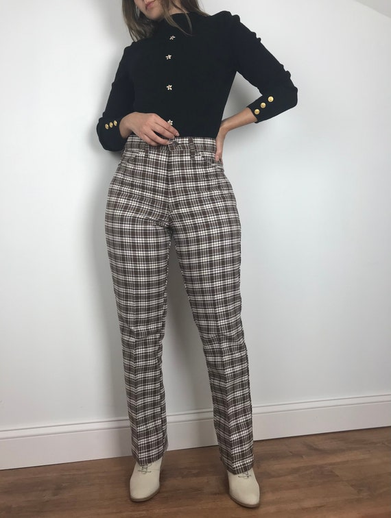 Vintage High Rise Plaid Pants from 1970s