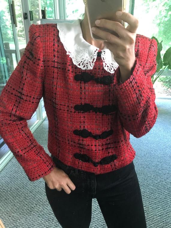 Vintage Doncaster Tweed Jacket 90s Designer Red Metallic Tweed Blazer Womens Size Medium