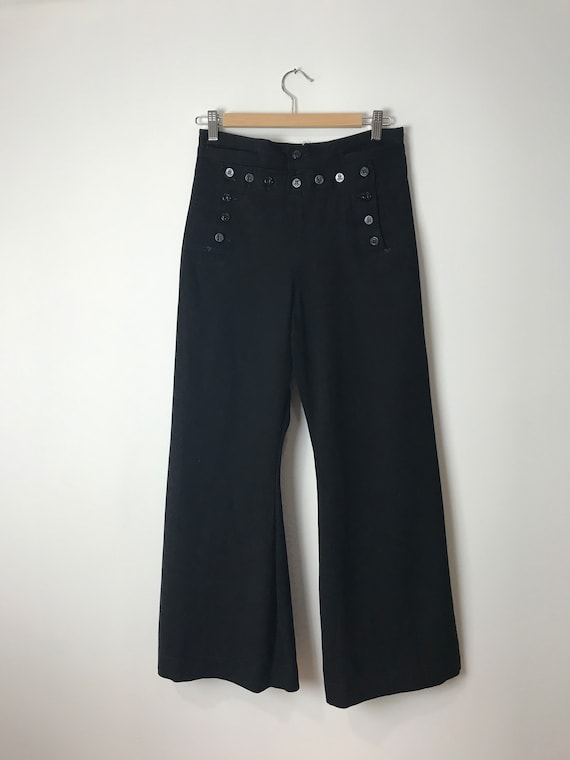 Vintage Sailor Black Wool Flare Pants
