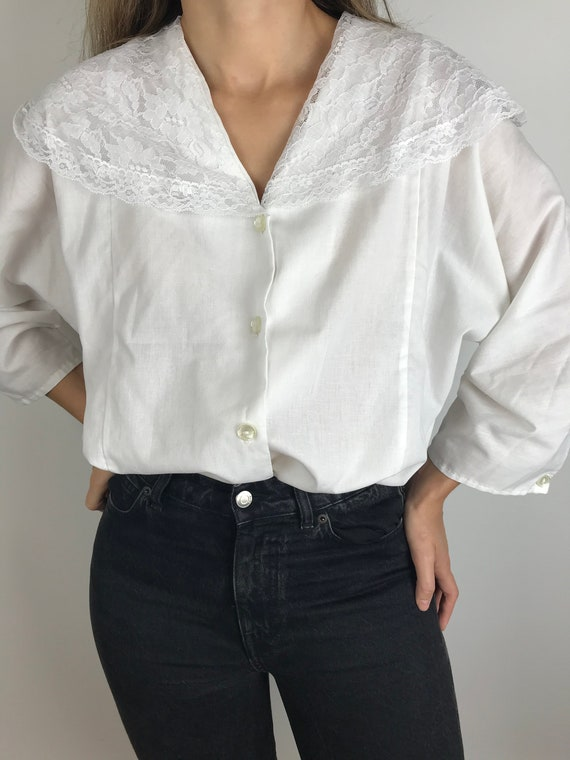 Vintage Oversized Shirt with Sailor Collar