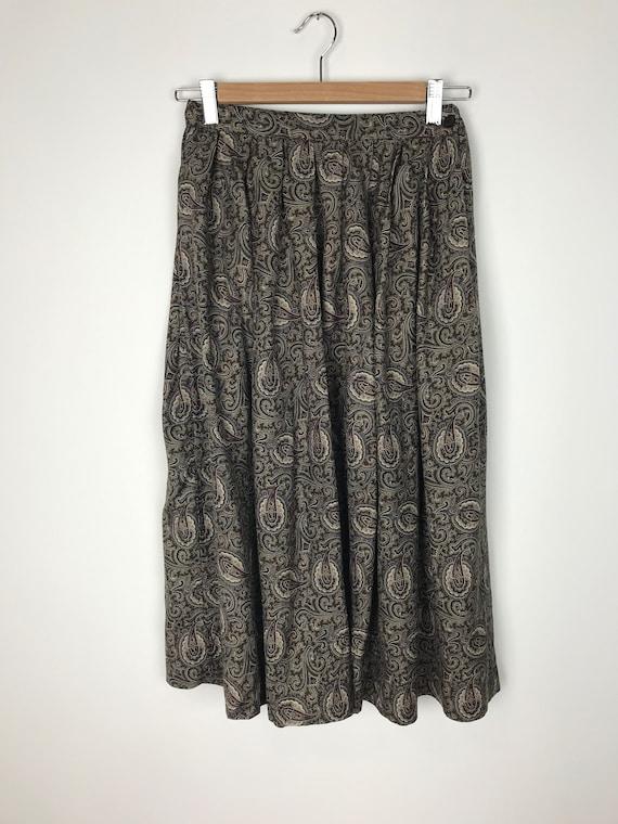 Vintage Midi Silk Skirt