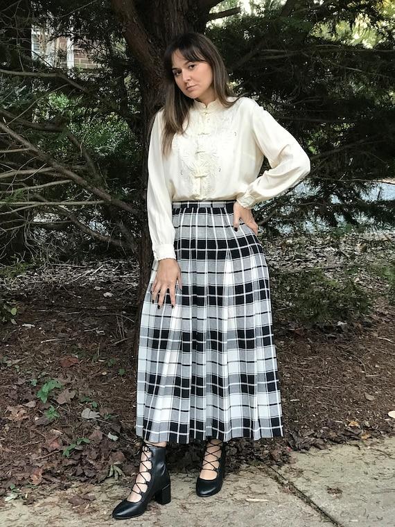 Vintage Silk Midi Plaid Skirt