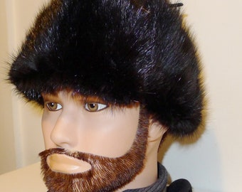 6245c56a327f4 Nice vintage black muskrat fur hat trapper style with leather top 24.5