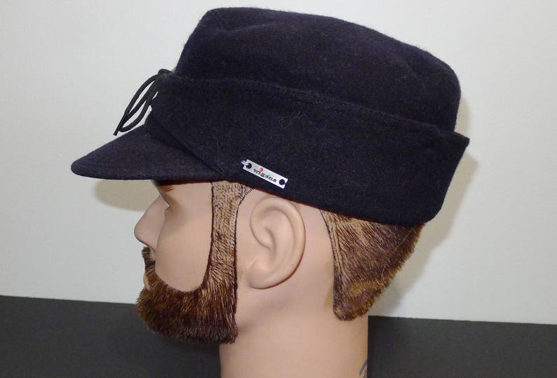 WIGENS of Sweden pure wool navy blue cap hat with ear flaps  397cc328c3d