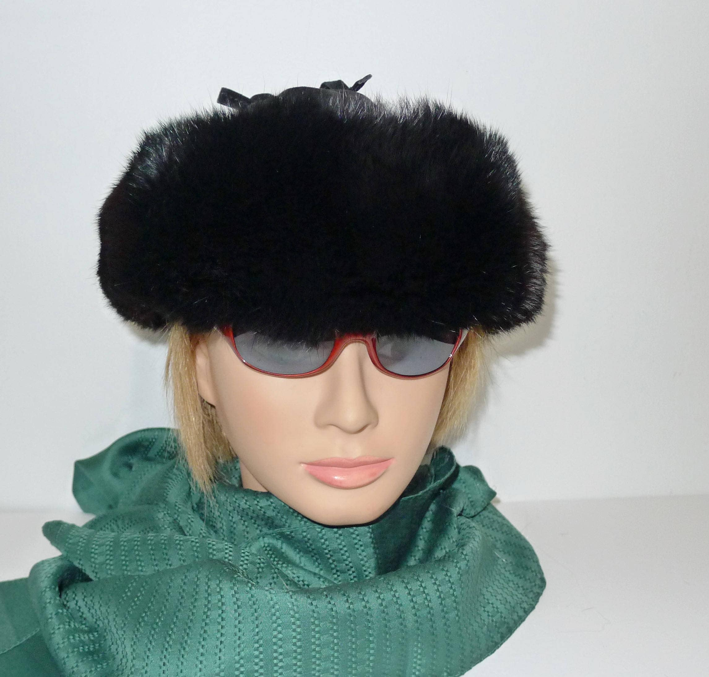 Pretty genuine black rabbit fur trooper ushanka style hat  c89ec38956f