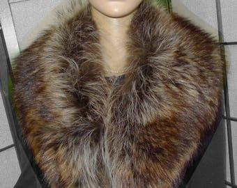 "Beautiful vintage warm raccoon  fur collar   40"" -  Chaud collet de chat sauvage  - 40"""
