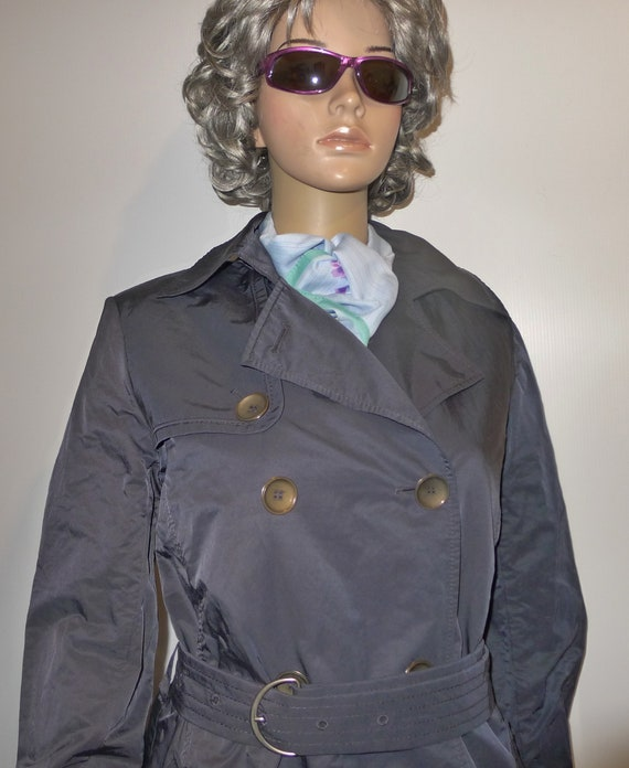 CINZIA ROCCA vintage navy blue trench coat - Sz 8 - image 2