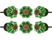 Antique Finish Dark Green Glass Knob Set Of 6 Decorative Handle For Bedroom Office Drawer Cupboard Kitchen Cabinet Door Pull By Perilla Home