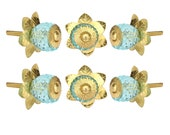Crystal Glass Knobs Set Of 6 Kitchen Cabinet Cupboard Glass Door Knobs Dresser Wardrobe and Drawer Pull by Perilla Home