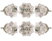 Clear Melon Glass Knob Set Of 6 Chrome Finish Handle Pull For Cabinet Drawer Cupboard Bathroom Door Dresser Office Bedroom By Perilla Home