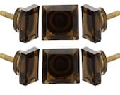 Dark Brown Square Glass Knob Set Of 6 Decorative Handle For Furniture Cabinet Drawer Bathroom Cupboard Door Handle Pull By Perilla Home